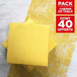 Pack chemin décor jaune + 40 serviettes soft jaune