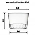 15 Verres cristal bodéga 25cl Lavables - réutilisables