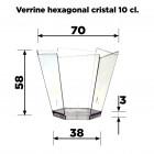 Verrine Hexagonale cristal 10cl. Recyclable - réutilisable Par 25