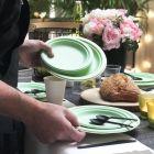 Assiette Bio vert macaron 18 cm. Home compost. Fibres végétales Par 12