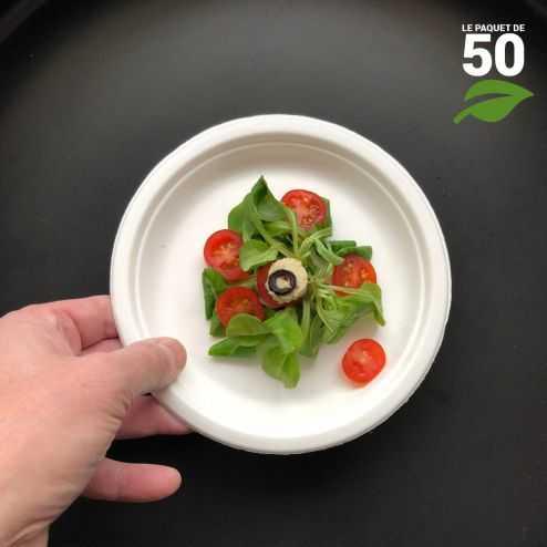 Assiette biodégradable ronde 17 cm. Par 50