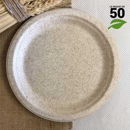 Assiettes pulpe de blé 23 cm. Biodégradables et compostables. Par 50