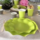 20 Assiettes pétale 27cm vertes biodégradables et compostables