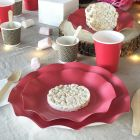 20 Assiettes pétale 21cm rouges Bio et compostables
