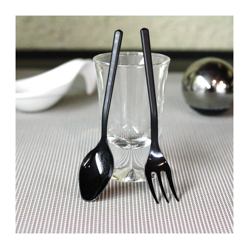 mini cuill res ap ritive noires vaisselle jetable discount. Black Bedroom Furniture Sets. Home Design Ideas