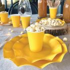 20 Assiettes pétale 27cm jaune biodégradables et compostables