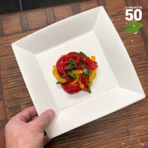 Assiette biodégradable design carrée plate 23 cm. Par 50