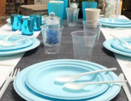 Table Baby Shower Bleu